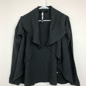 Kensie gray waterfall front jacket snap front
